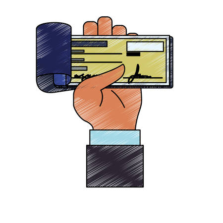 hand holding paper: Bank check transaction icon vector illustration graphic design.