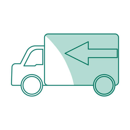 Delivery truck vehicle blue icon vector illustration graphic design