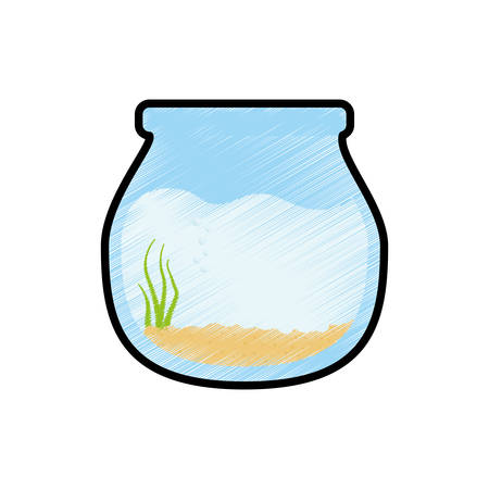 Fishbowl aquarium bowl icon vector illustration graphic design