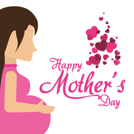 happy mothers day pregnancy mom with hearts