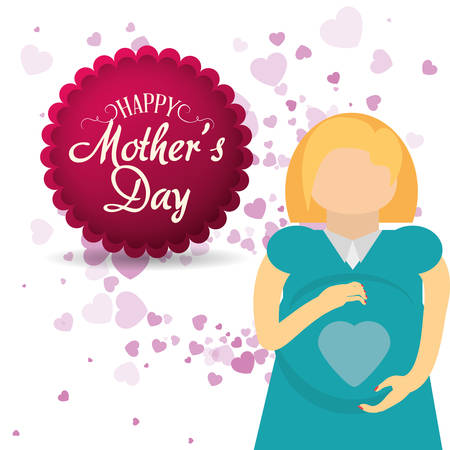 happy woman: mothers day card mom pregnancy celebration vector illustration eps 10