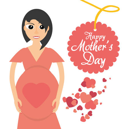 mothers day card mom pregnancy celebration heart vector illustration eps 10