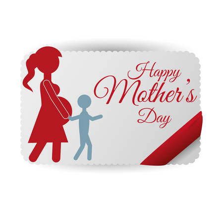 mother and baby: mothers day mom with child lovely card vector illustration eps 10 Illustration