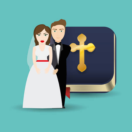 get married couple bible card celebration Vectores