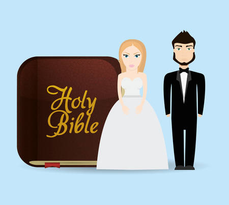 get married couple bible card Vectores