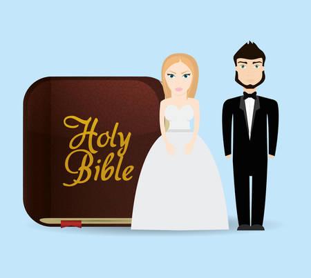 get married couple bible card Çizim