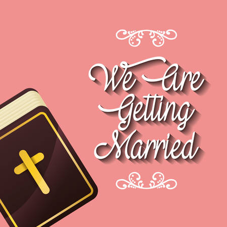 we are greeting married religious bible card Ilustrace