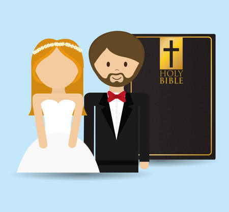 get married couple bible card Çizim