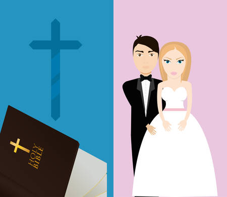 get married couple bible cross sacred card