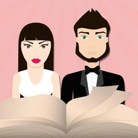 get married couple bible card vector illustration eps 10
