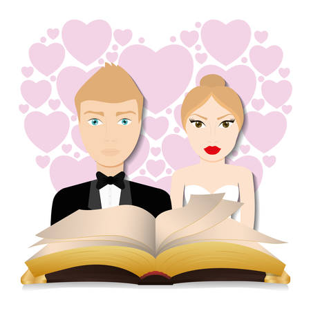 get married couple bible hearts background card Çizim