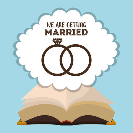 we are greeting married card with rings and bible religious Illustration