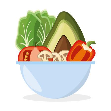 Kom Groenten Salade Vers Heerlijk Stock Illustratie