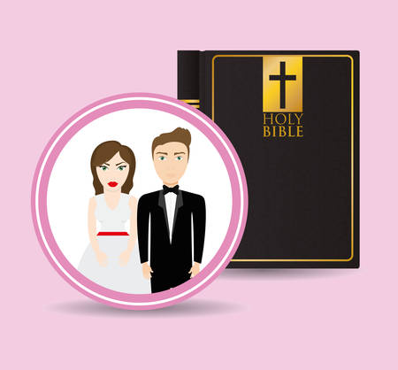 wedding dress: get married couple bible card greeting Illustration