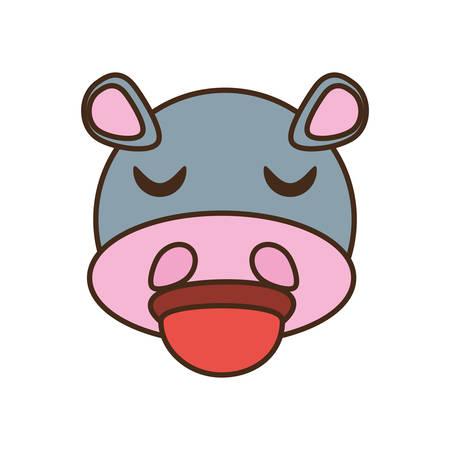 cute hippo face kawaii style vector illustration eps 10