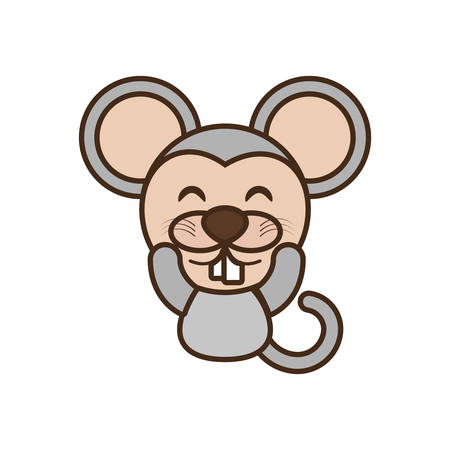 cute mouse face kawaii style vector illustration eps 10