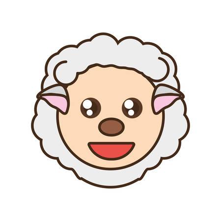 cute sheep face kawaii style vector illustration eps 10
