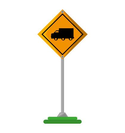 restricted area sign: truck zone traffic signal vector illustration design Illustration