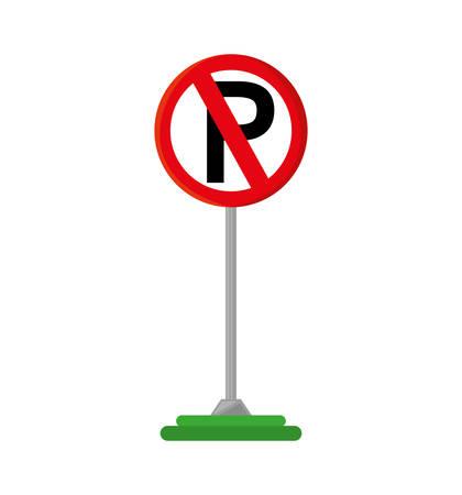 parking prohibited traffic signal vector illustration design Illustration