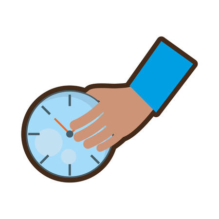 duration: hand holding watch time delivery vector illustration eps 10