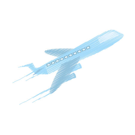drawing delivery airplane worldwide vector illustration eps 10
