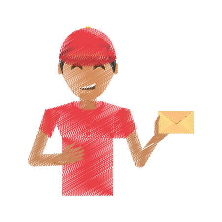 drawing delivery man package service vector illustration eps 10