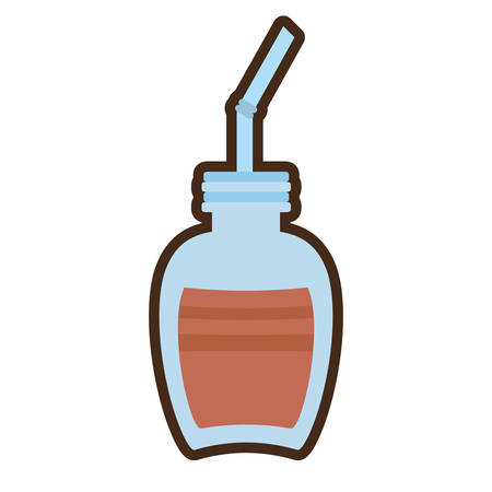 cartoon jar glass chocolate beverage vector illustration eps 10