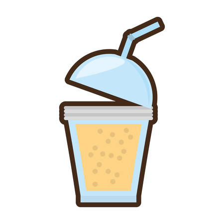 cartoon fruit smoothie plastic cup straw vector illustration eps 10