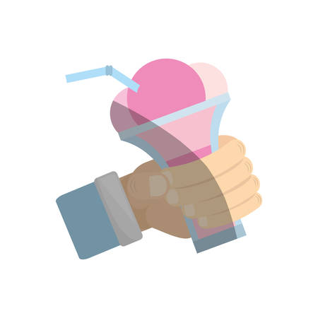 hand holding glass cup ice cream cherry vector illustration eps 10