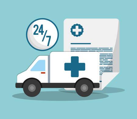 ambulance transport emergency 24-7 document vector illustration eps 10 Illustration
