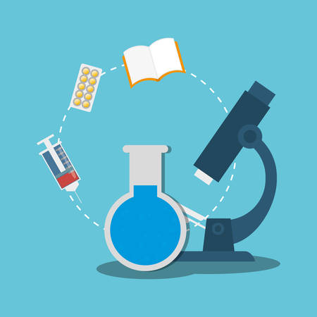 microscope test tube laboratory medical items vector illustration eps 10 Illustration