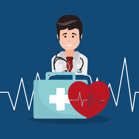 doctor kit first aid heartbeat vector illustration eps 10