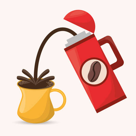 coffee thermos cup drink hot vector illustration eps 10 Illustration