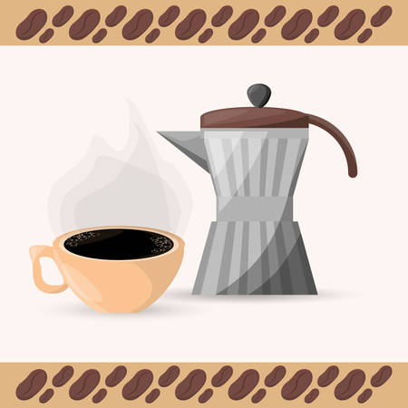 coffee maker and cup aroma vector illustration eps 10