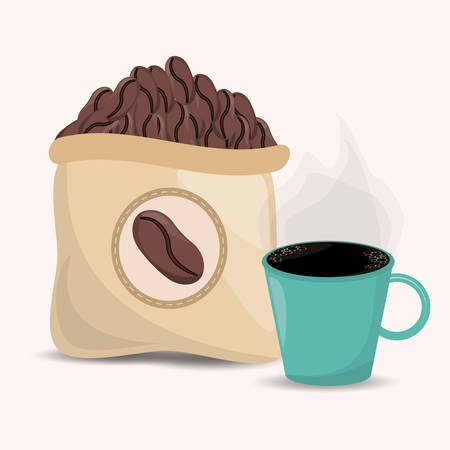 coffee beans sac and cup image vector illustration eps 10 Illustration