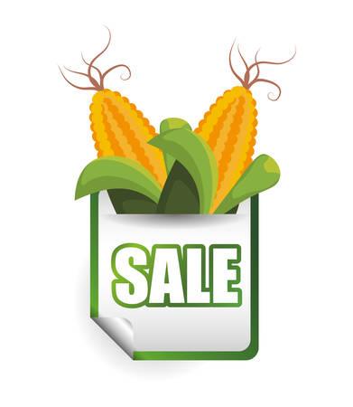 grocer: corn sale shop market label vector illustration eps 10 Illustration