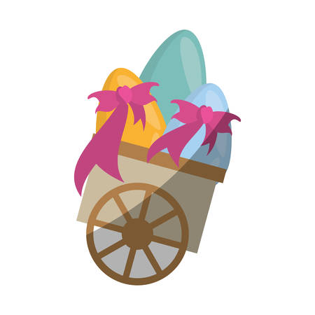 cart with easter egg bow shadow vector illustration eps 10