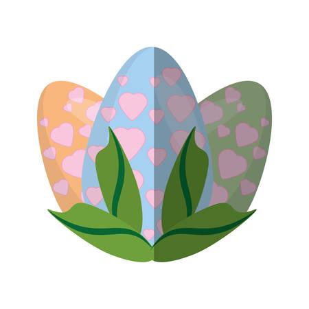 easter egg heart decoration leaves shadow vector illustration eps 10