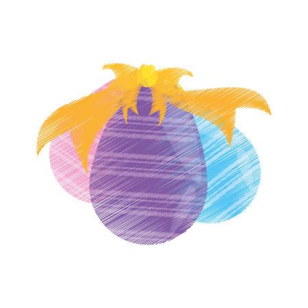 drawing set easter egg bow decoration vector illustration eps 10