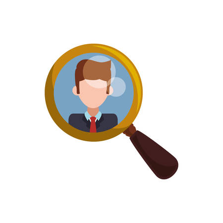 magnifying glass tool man picture vector icon illustration Illustration