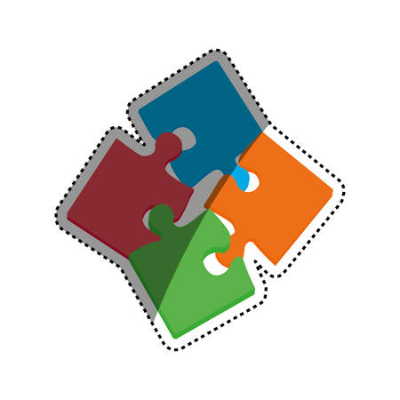puzzle pieces together icon illustration Illustration