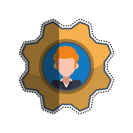 man profile: gear frame male faceless picture icon illustration