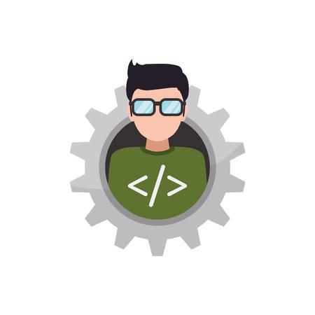 programmer man faceless glasses icon illustration