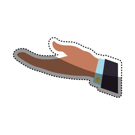 businessman open hand request icon illustration