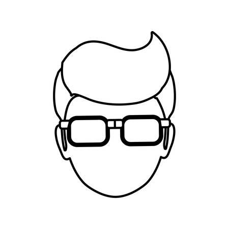 man profile: man faceless head glasses icon illustration