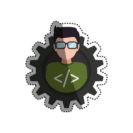 programmer man faceless glasses icon illustration Illustration