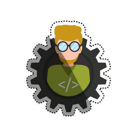 programmer man faceless glasses icon illustration Illustration