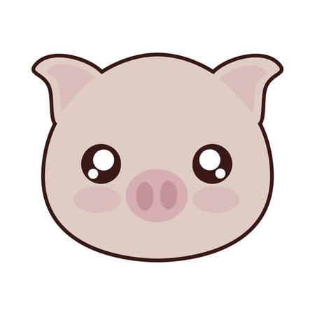 白い背景の上のかわいい豚動物アイコン。カラフルなデザイン。ベクトル図