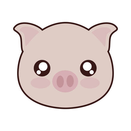 kawaii pig animal icon over white background. colorful design. vector illustration