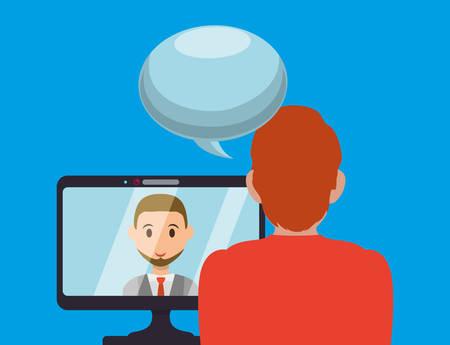 video call: Digital communication technology icon vector illustration graphic design